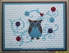 Inlaid Embossing Owls: Baroque Motifs Paper: Early Espresso, Marina Mist, Whisper White, Cherry Cobbler, Elegant Eggplant Ink: Marina Mist Accessories: Square Lattice EF, Owl Builder Punch, Flower from Itty Bitty Shapes Punch Pack Techniques: Inlaid Embossing   Read more: http://www.splitcoaststampers.com/gallery/photo/2444446#ixzz2j9vPtLo5