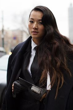 """""""On the Street.... Via Turati, Milan"""" Feminine waves meet menswear suiting and leather gloves #androgyny 