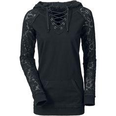 Sweat-shirt à capuche Gothicana by EMP »Lace Sleeve« | Dispo chez EMP | Plus de Sweat-shirts à capuche Gothic sur notre site en ligne ✓ Prix imbattables !