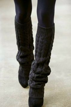 In this never ending Winter...Black leggings, black leg warmers, and black shoes=Hot