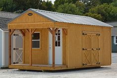 This is an Ulrich cabin shell, customized to include double shed doors.