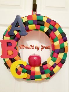 Excited to share the latest addition to my #etsy shop: Teacher Wreath; School Wreath; Classroom Decor; Daycare Gifts; Daycare Decor; Teacher Gifts; ABC Apple Wreath; Classroom Door Decoration #christmasgift #housewares #homedecor #entryway #teachergifts #schooldecor #teacherwreath http://etsy.me/2AiZX9K