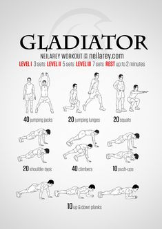 Gladiator workout - no-equipment workout for intermediate and advanced fitness levels.