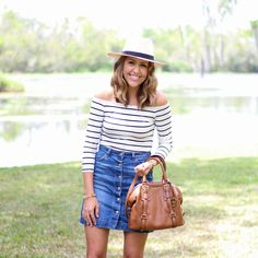 Striped off shoulder top, Panama hat, button front denim skirt Jean Skirt With Buttons, Button Front Denim Skirt, Farmers Market Outfit, How To Make Jeans, Js Everyday Fashion, Striped Off Shoulder Top, Summer Outfits, Cute Outfits, Spring Wear