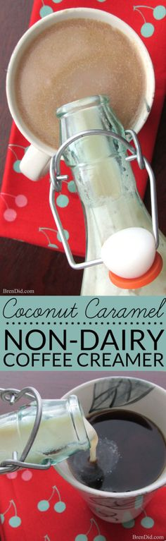 The coconut and caramel flavors of Samoas / Caramel deLites Girl Scout cookies in a delicious, homemade non-dairy coffee creamer with no artificial ingredients (and it tastes even better than store purchased creamers). Non-dairy, organic, non-GMO vegan coffee creamer for $2.00! Bonus Vegan Butterbeer recipe.