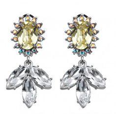Yellow Daisy Flower Gemstone Earrings