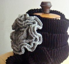 Could be soooo fine on a chunky knitted cowl. Knitting PDF PATTERN Extra Large Flower Brooch 17