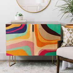 Home decor, Painting furniture diy, Psychedelic decor, Patterned furniture, Living room decor apartment, Artistic furniture - Psychedelic Pattern 01 Credenza Viviana Gonzalez - #Homedecor