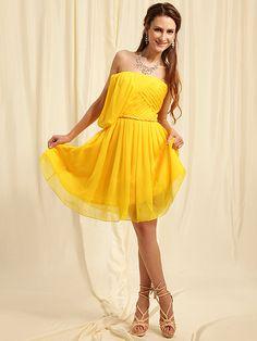 A-line Chiffon Strapless/ One Shoulder Braided Belt Ruffled Short Dresses 2011 under 200