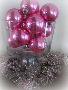 pink decorations for the Christmas tree (if I can't have a pink tree)! or I could do this with Easter Eggs