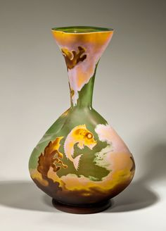 Vase, c. 1895. Fish, seaweed, coral; cameo glass; maker: Daum Fréres & Cie, Nancy, France, 1891–present; decorator: Louis Antoine Damon, French, 1860–1947, H. 13 1/4 in. (GL-026-84).