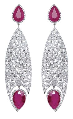Bapalal Keshavlal Ruby Fish Eye Earrings