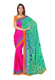 Multi Colored Printed #Casual #Sari USA  For More Saree Check this page now :-http://www.ethnicwholesaler.com/sarees-saris