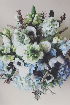 Gorgeous white and blue summer flowers by Cloud Hill Flowers, a wedding florist based in Little Baddow, Essex. They go the extra mile to create your vision and more, making creative designs a personal and affordable reality. Wedding flowers - arrangement, blue, white, Summer