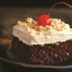 Caramel Brownie Cake from Pillsbury® Baking. I skipped the nuts & cherry. I also used the fudge icing brownie mix. Crisco Recipes, Baking Recipes, Cake Recipes, Dessert Recipes, Sweet Desserts, Dessert Ideas, Holiday Desserts, Cake Ideas, Holiday Recipes
