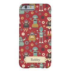 Personalized Retro Robots (Red) Barely There iPhone 6 Case
