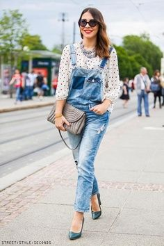Spring or fall - street style - denim overalls + blouse + heels
