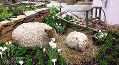 Cute stone sheep in Tourism Ireland's Wild Atlantic Way garden at Canada Blooms 2014