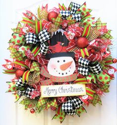 Christmas Wreath Snowman Wreath Deco Mesh by PinkBluebonnet