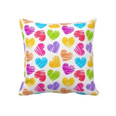 "Vibrant Hearts. Throw Pillow 20"" x 20""."
