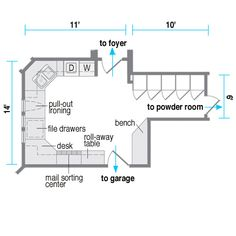 floor plan of work station laundry room