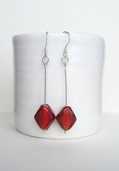 Red Diamond Dangle Earrings with Sterling Silver by NiikNakks