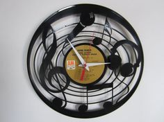 Music Lover Recycled Record Clock by RecordTimeClocks on Etsy, $28.00