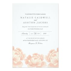 Rose Wedding Invitations Blush Pink Roses Wedding Invitation