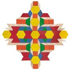 Wooden Pattern Blocks In A Bucket Pattern Block Templates, Pattern Blocks, Math Patterns, Quilt Patterns, Electric Quilt, Wooden Pattern, English Paper Piecing, Toy Craft, Wood Toys
