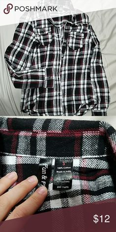 Flannel shirt Red black white. Never worn. Medium weight. Tops Button Down Shirts