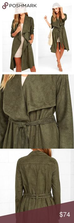 Olive Green Suede Trench Coat🎉FINAL PRICE DROP🎉 New with tags. Size xs. All info is in last two photos. Lulu's Jackets & Coats Trench Coats