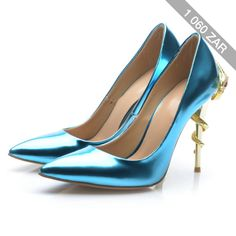 Blue Point Toe Snake High Heels Shoes