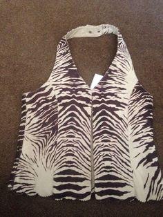 Waistcoat Halterneck 100% Leather Animal Print Brown & Beige Size 12 New