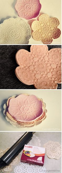 DIY Doily Pressed Clay Bowls.
