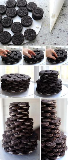4pkg oreo, plus decorators frosting as glue, Stacked Oreo Cake and Homemade Marshmallows