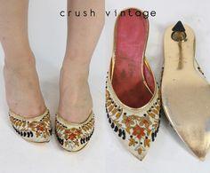 60s Taj Heels 5 / 1960s Beaded Mules / The Arabian by CrushVintage