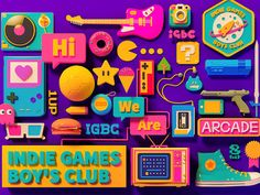 """""""Indie Games Boys Club"""" series is my private project.Affected by classic nintendo game Earthbound - as known as Club Design, 3d Design, Game Design, Exhibition Stand Design, Graphic Design Illustration, Illustration Art, Game Character Design, 3d Artwork, Indie Games"""