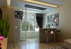Modern minimalist home bar design rendering Home Bar Counter, Bar Counter Design, Modern Home Bar, Modern Minimalist, Curtains, Furniture, Pictures, Home Decor, Photos