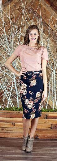 Black Floral Pencil Skirt - Med Length by ModestPop