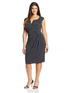 Adrianna Papell Women's Plus-Size Cap Sleeve Lap Over Dress, Black/White, 22W