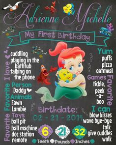 Baby mermaid / little mermaid theme birthday chalkboard. Can make for any age by Martin design.