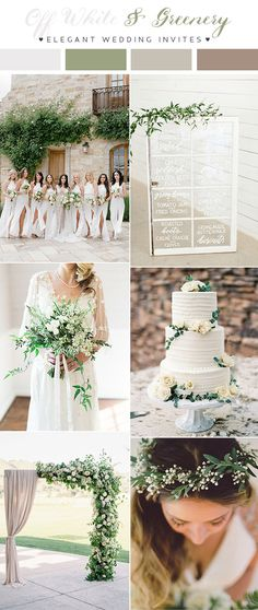 Off white and greenery neutral garden wedding inspiration