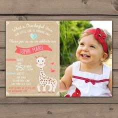 Giraffe Birthday Party Invitation Giraffe by Anietillustration