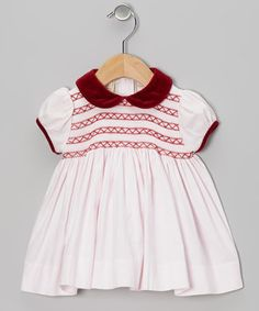 Take a look at this Pink & Maroon Smocked Dress - Infant by Boutique Collection by Imagewear on #zulily today!