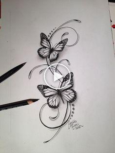 Butterflies filigree tattoo design - Tattoo-Ideen - Tattoo World Hand Tattoos, Flower Tattoos, Body Art Tattoos, New Tattoos, Small Tattoos, Tatoos, Vine Foot Tattoos, Butterfly Tattoo Designs, Butterfly Design