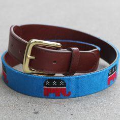 Reaganomics Solid Blue Needlepoint Belt - Needlepoint Belts - Needlepoint Belts & Accessories