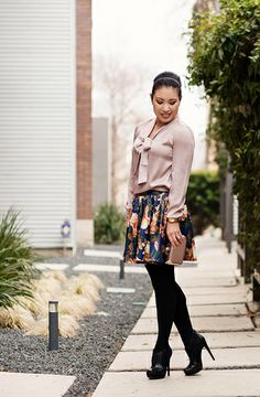 cute & little blog | bows and navy dresslily floral mini outfit by kileencheng, via Flickr