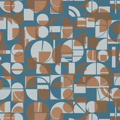 A fun geometric wallpaper design featuring a small scale design of overlapping shapes with metallic accents. Shown here in the ink and copper colourway. Harlequin Wallpaper, Copper Wallpaper, Striped Wallpaper, Print Wallpaper, Fabric Wallpaper, Wallpaper Headboard, Painted Rug, Painted Paper, Geometric Wallpaper Design