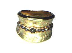 RING, Mokume gane red gold 18k. yelow gold 18k, silver and diamonds.