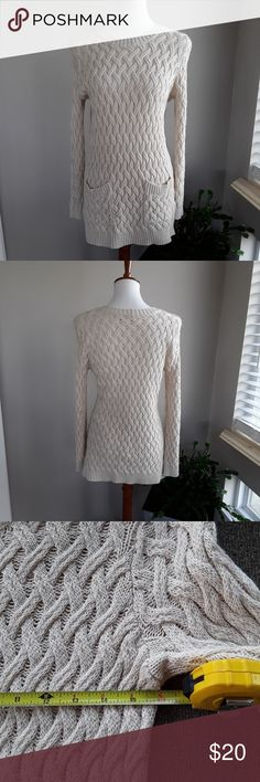 Jeanne Pierre Cable Knit Sweater Cream color cotton sweater with 2 pocket detail. EUC. Jeanne Pierre Sweaters